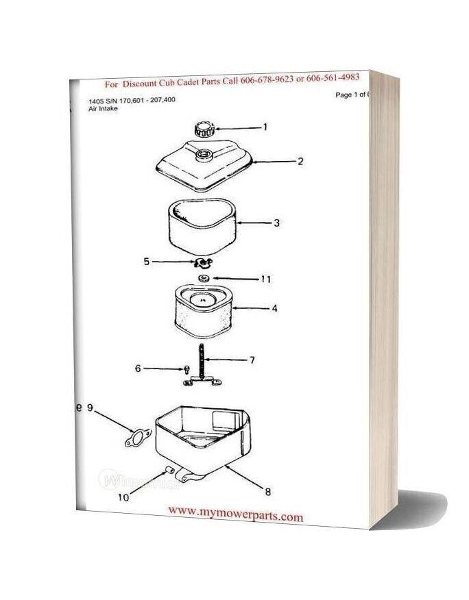 Cub Cadet Parts Manual For Model 1405 Sn 170601 207400