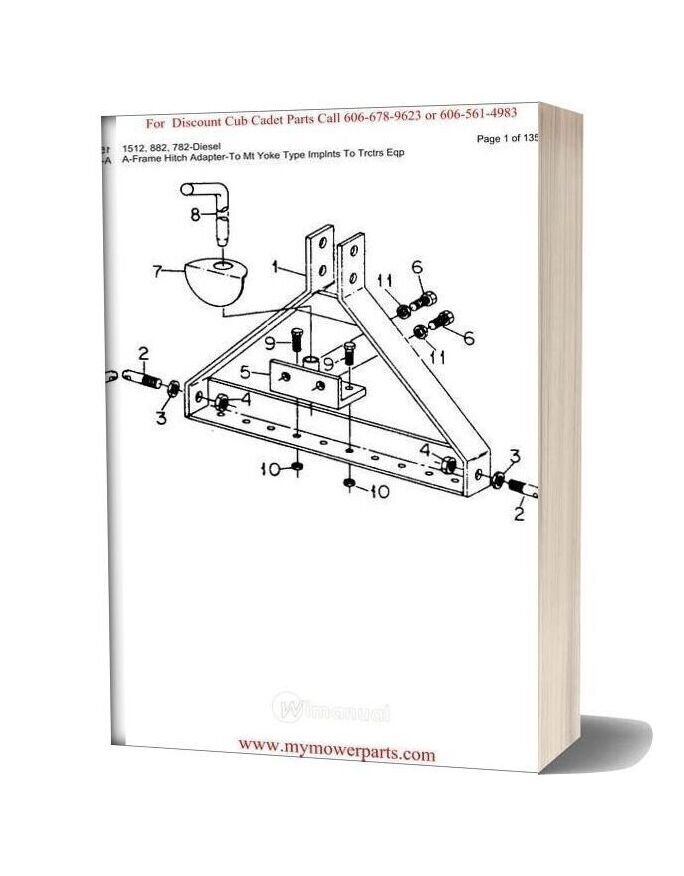 Cub Cadet Parts Manual For Model 1512 882 782 Diesel