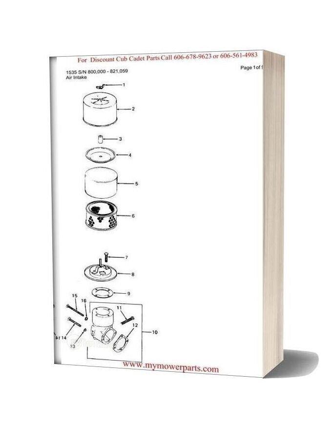 Cub Cadet Parts Manual For Model 1535 Sn 800000 821059