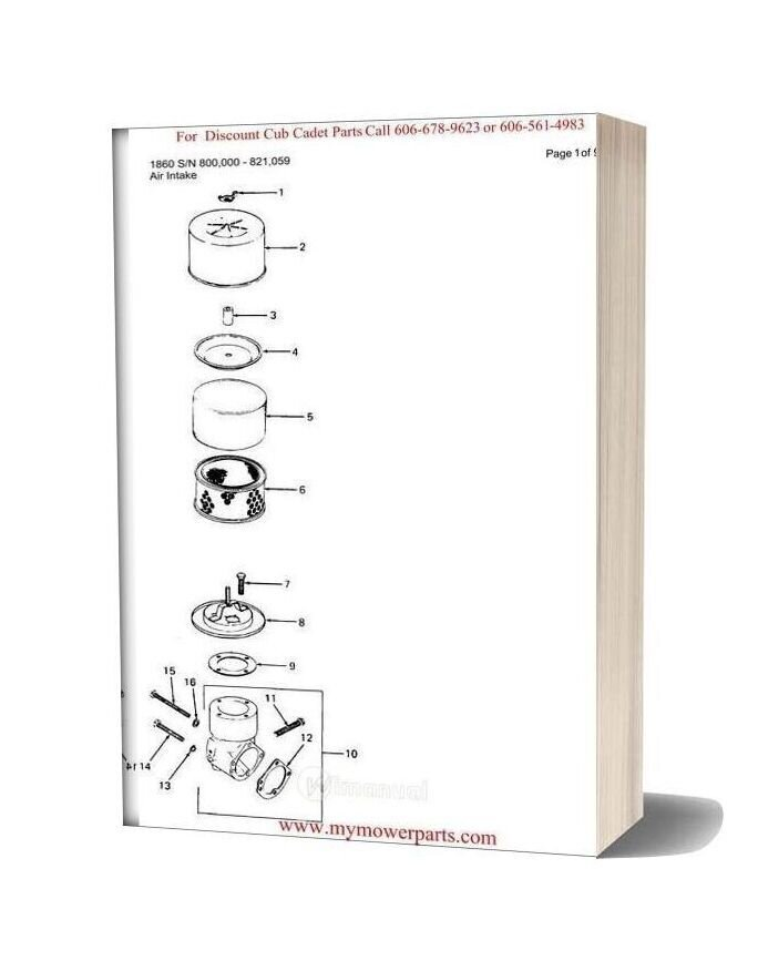 Cub Cadet Parts Manual For Model 1860 Sn 800000 821059
