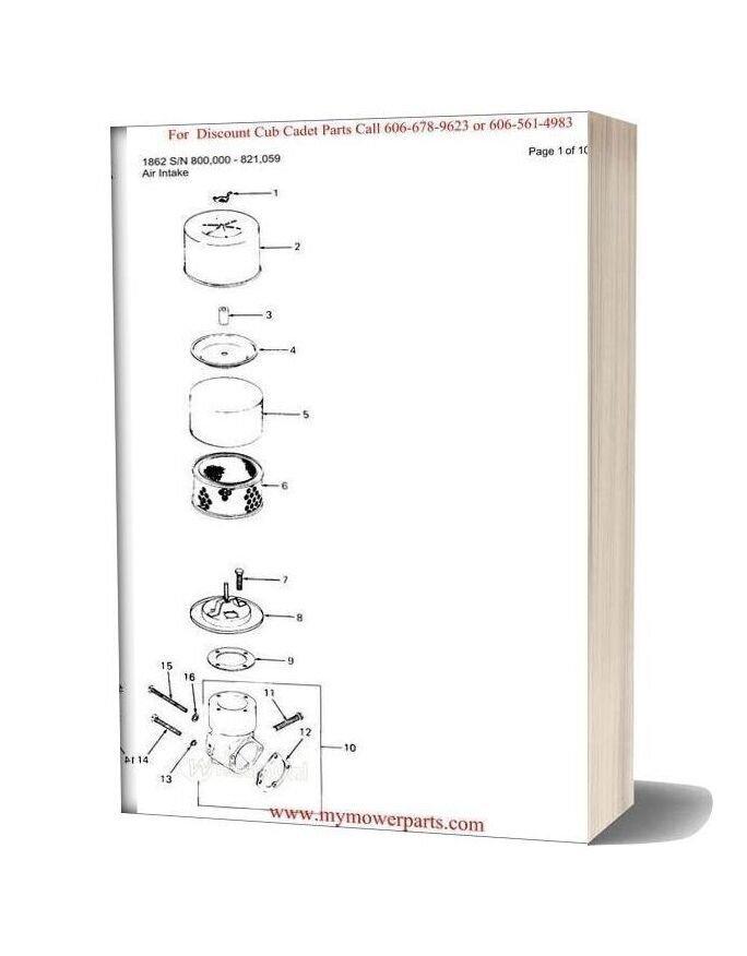 Cub Cadet Parts Manual For Model 1862 Sn 800000 821059