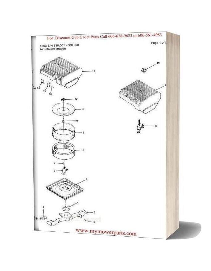 Cub Cadet Parts Manual For Model 1863 Sn 836001 880000