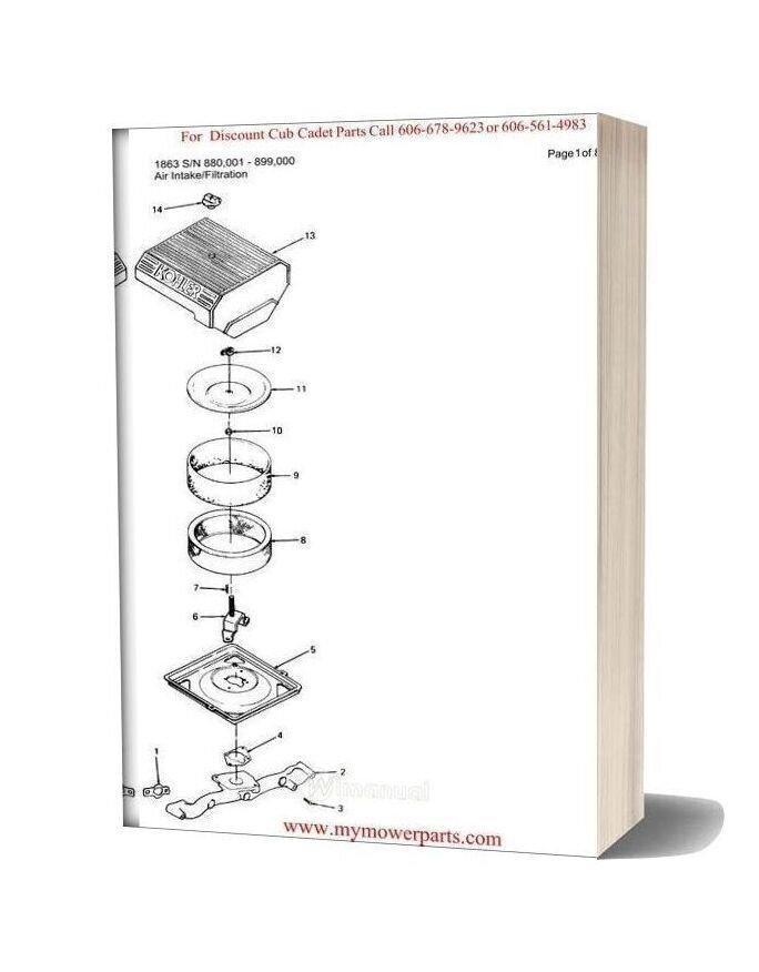 Cub Cadet Parts Manual For Model 1863 Sn 880001 899000