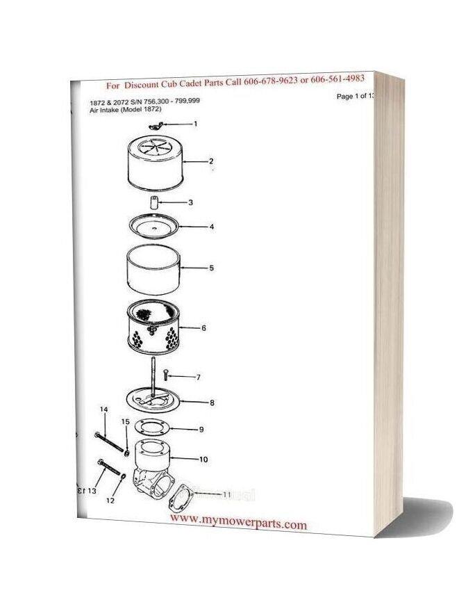 [SCHEMATICS_4US]  Cub Cadet Parts Manual For Model 1872 And 2072 Sn 756300 799999 | 2072 Cub Cadet Wiring Diagram |  | WiManual