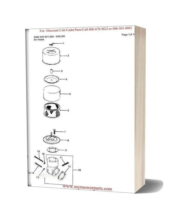 Cub Cadet Parts Manual For Model 2082 Sn 821060 836000