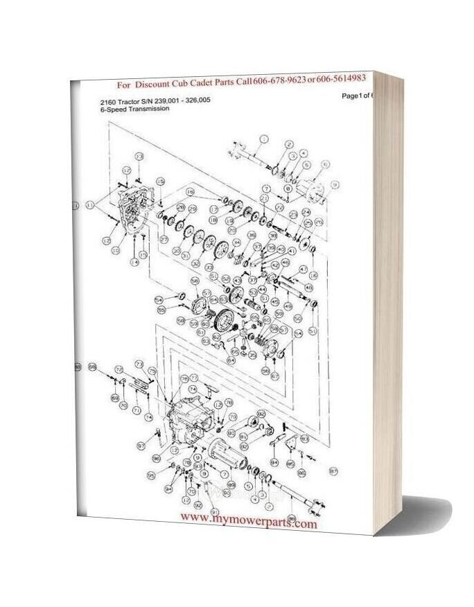Cub Cadet Parts Manual For Model 2160 Tractor Sn 239001 326005