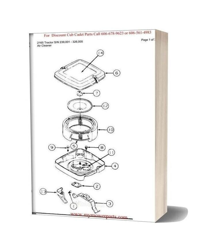 Cub Cadet Parts Manual For Model 2165 Tractor Sn 239001 326005