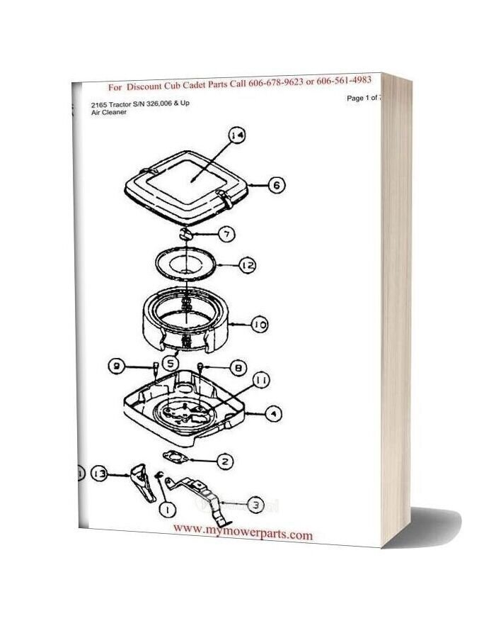 Cub Cadet Parts Manual For Model 2165 Tractor Sn 326006 And Up