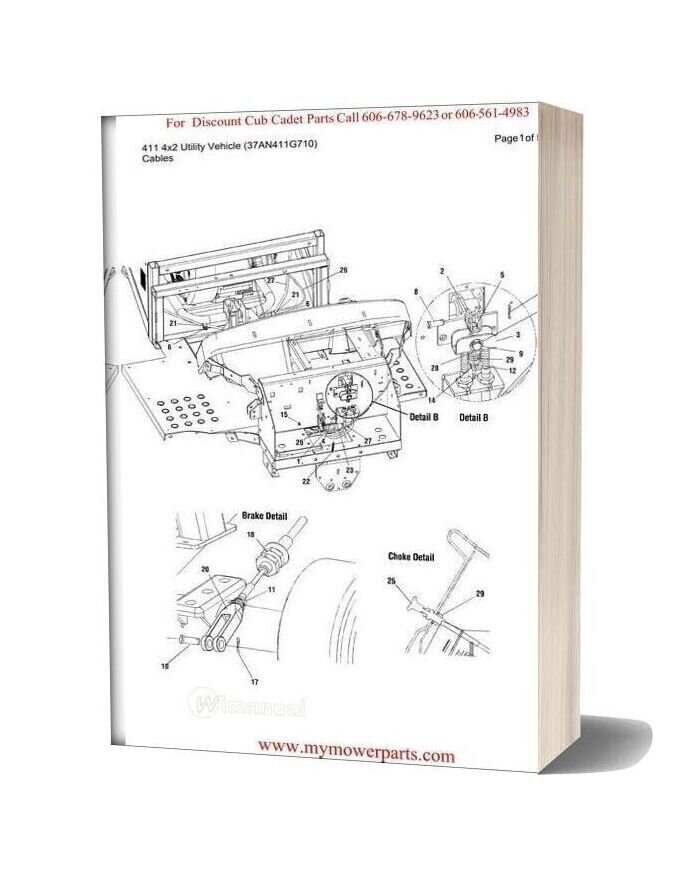 Cub Cadet Parts Manual For Model 411 4x2 Utility Vehicle 37an411g710