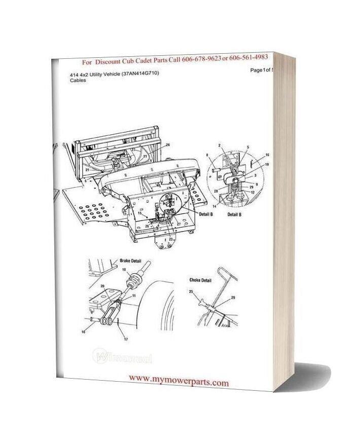 Cub Cadet Parts Manual For Model 414 4x2 Utility Vehicle 37an414g710