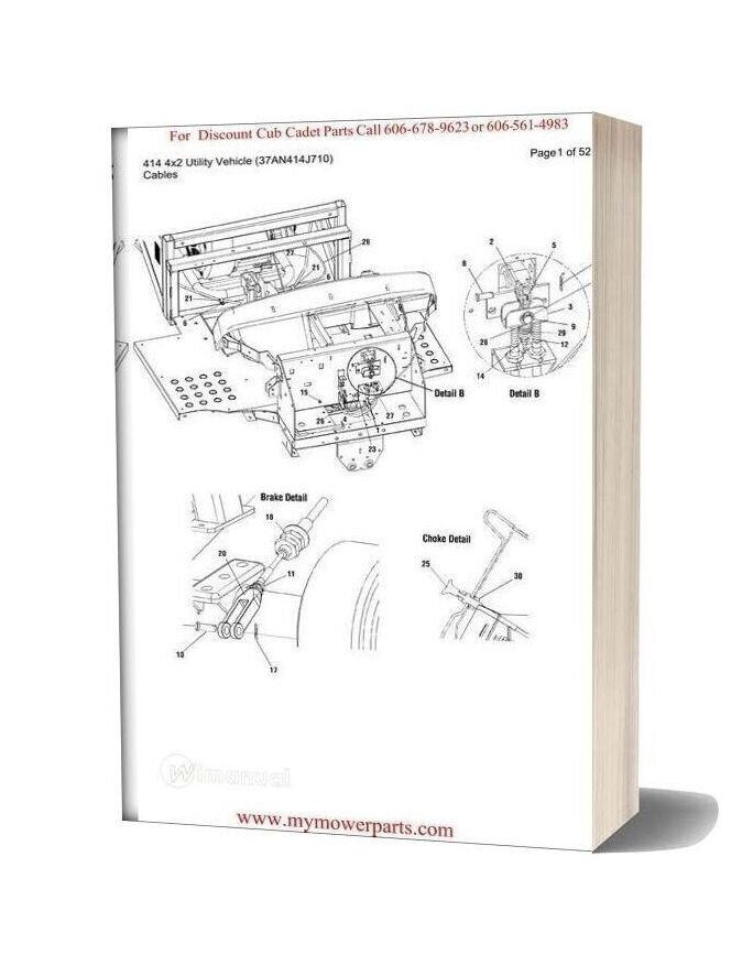Cub Cadet Parts Manual For Model 414 4x2 Utility Vehicle 37an414j710