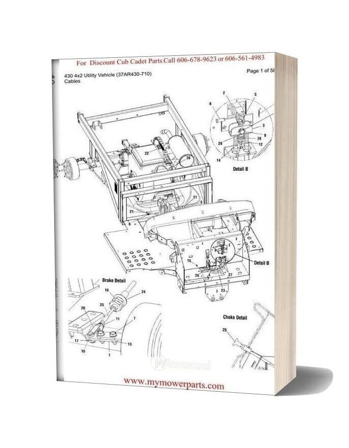 Cub Cadet Parts Manual For Model 430 4x2 Utility Vehicle 37ar430 710