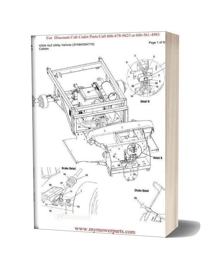 Cub Cadet Parts Manual For Model 430a 4x2 Utility Vehicle 37ab430a710