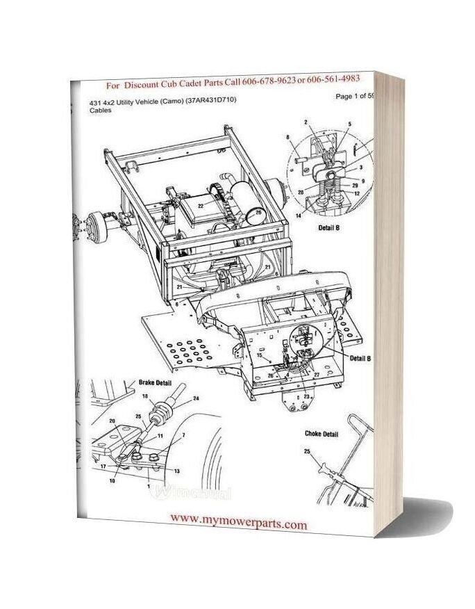Cub Cadet Parts Manual For Model 431 4x2 Utility Vehicle Camo 37ar431d710