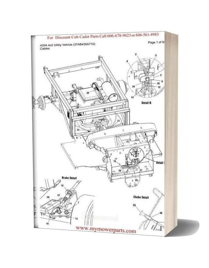 Cub Cadet Parts Manual For Model 435a 4x2 Utility Vehicle 37ab435a710