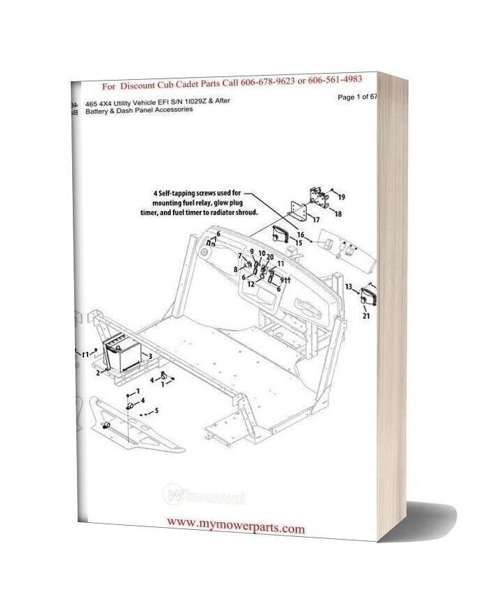 Cub Cadet Parts Manual For Model 465 4x4 Utility Vehicle Efi Sn 1i029z And After