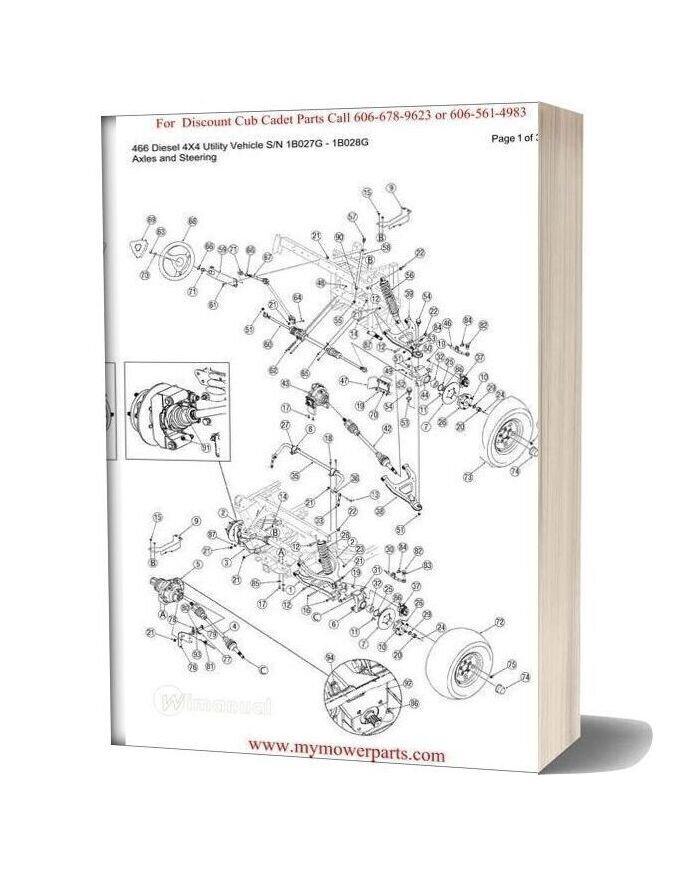 Cub Cadet Parts Manual For Model 466 Diesel 4x4 Sn 1b027g 1b028g