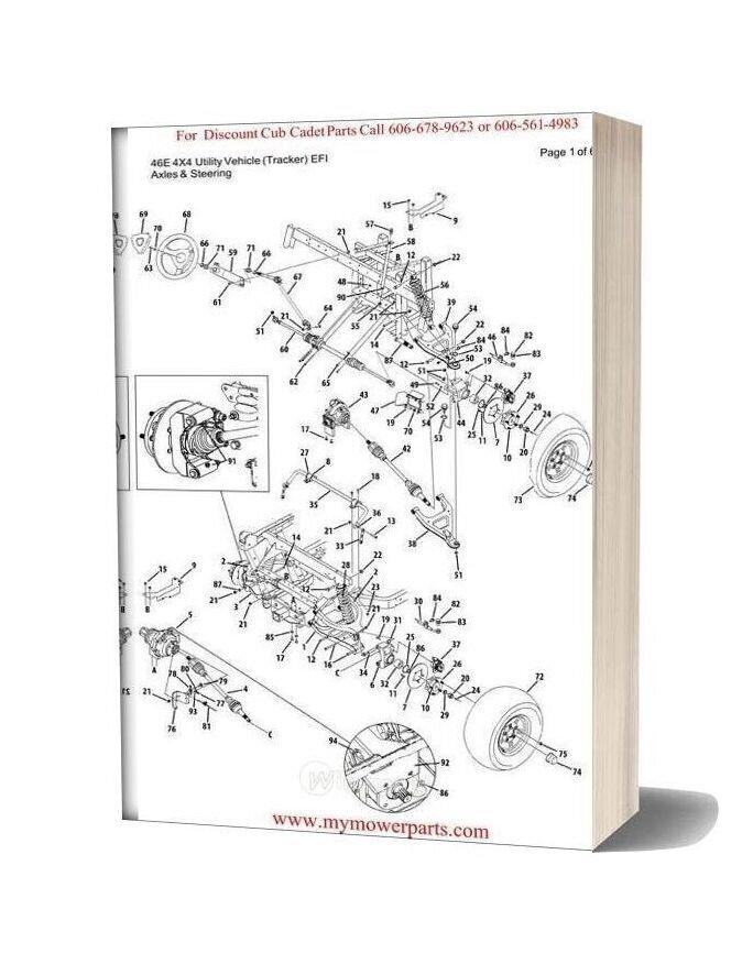 Cub Cadet Parts Manual For Model 46e 4x4 Utility Vehicle Tracker Efi