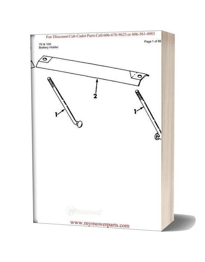 Cub Cadet Parts Manual For Model 70 And 100