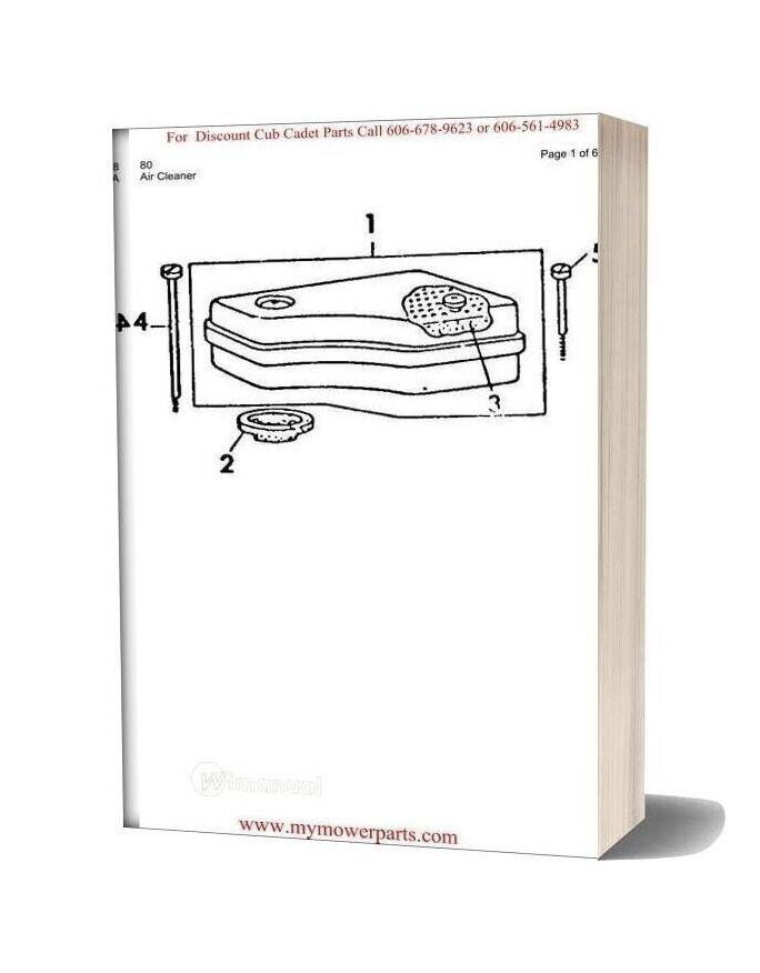 Cub Cadet Parts Manual For Model 80