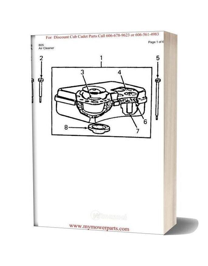 Cub Cadet Parts Manual For Model 805