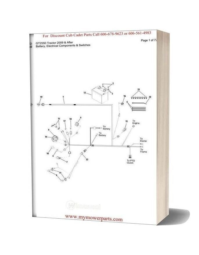 Cub Cadet Parts Manual For Model Gt2550 Tractor 2009 And After