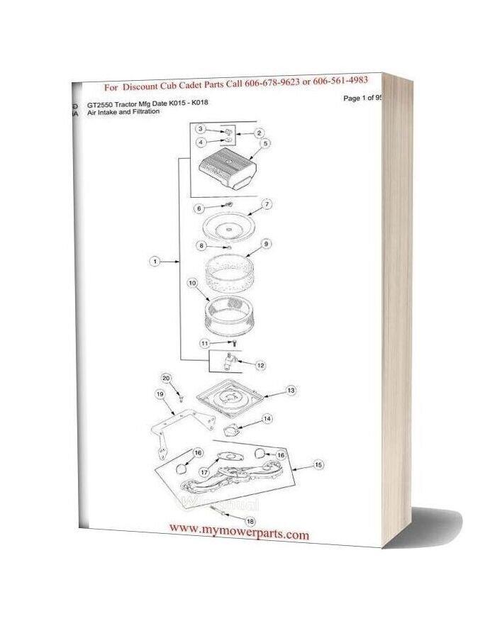 Cub Cadet Parts Manual For Model Gt2550 Tractor Mfg Date K015 K018