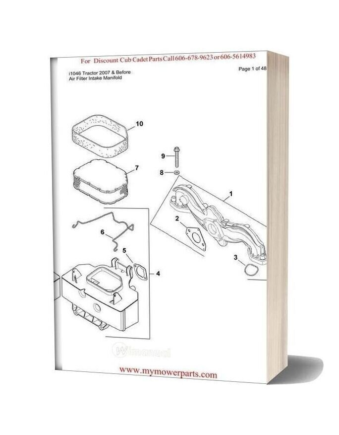 Cub Cadet Parts Manual For Model I1046 Tractor 2007 And Before