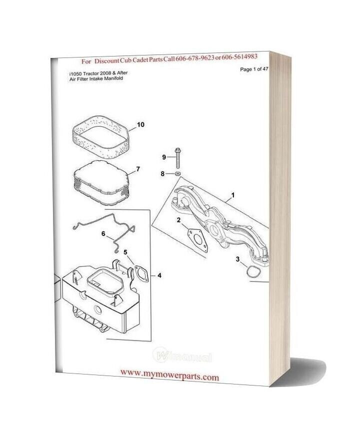 Cub Cadet Parts Manual For Model I1050 Tractor 2008 And After
