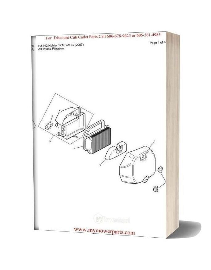 Cub Cadet Parts Manual For Model Rzt42 Kohler 17ae2acg 2007