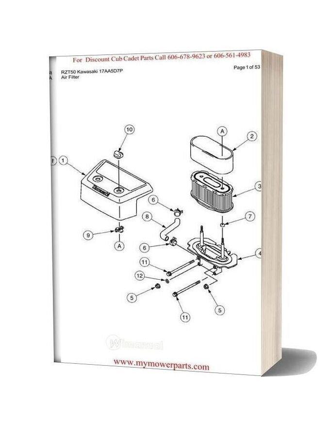 Cub Cadet Parts Manual For Model Rzt50 Kawasaki 17aa5d7p