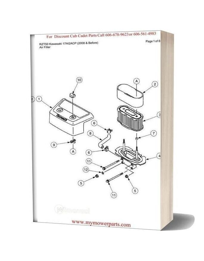 Cub Cadet Parts Manual For Model Rzt50 Kawasaki 17ai2acp 2008 And Before