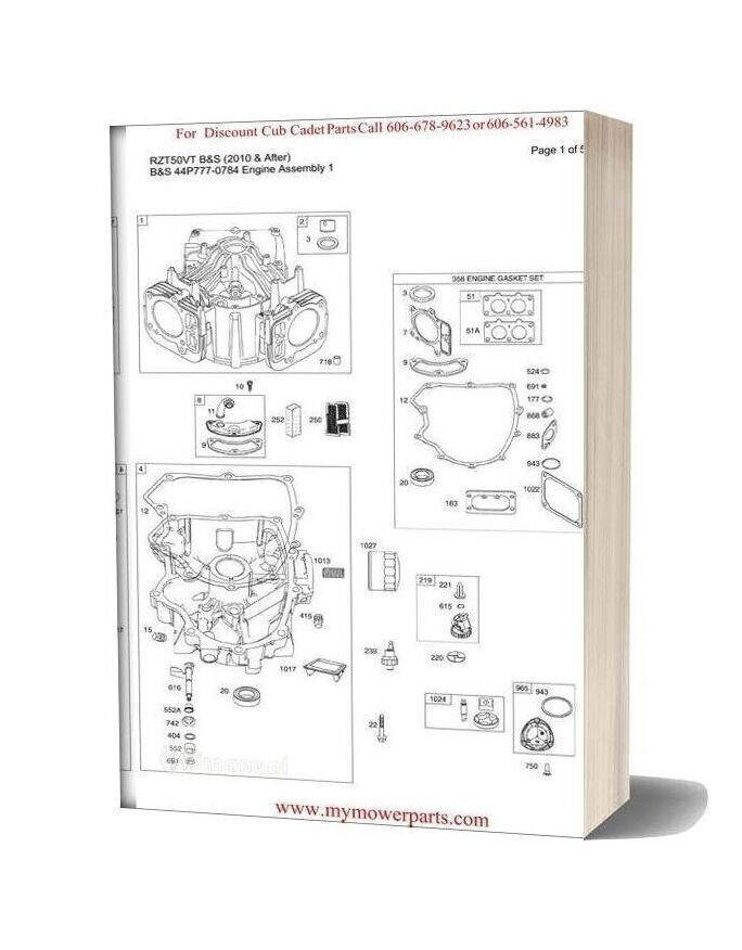 Cub Cadet Parts Manual For Model Rzt50vt Bands 2010 And After