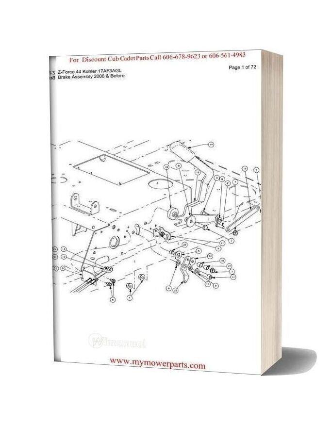 Cub Cadet Parts Manual For Model Z Force 44 Kohler 17af3agl