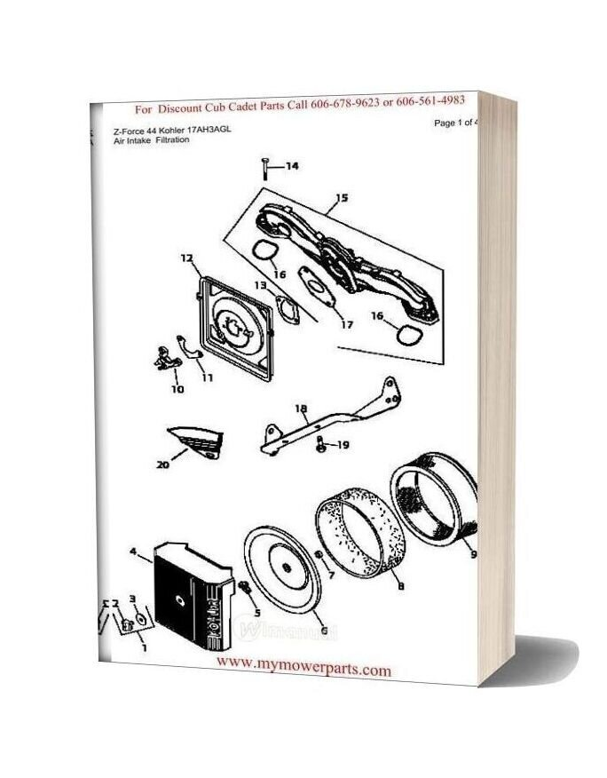 Cub Cadet Parts Manual For Model Z Force 44 Kohler 17ah3agl