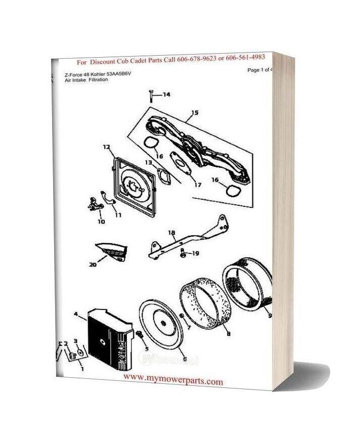 Cub Cadet Parts Manual For Model Z Force 48 Kohler 53aa5b6v