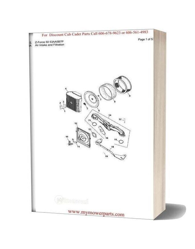 Cub Cadet Parts Manual For Model Z Force 50 53aa5b7p