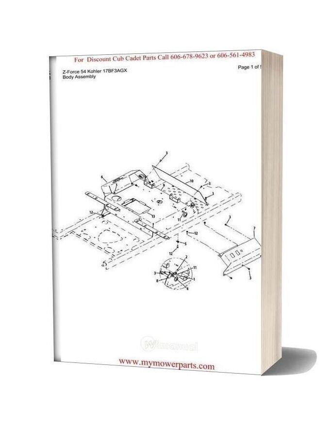 Cub Cadet Parts Manual For Model Z Force 54 Kohler 17bf3agx