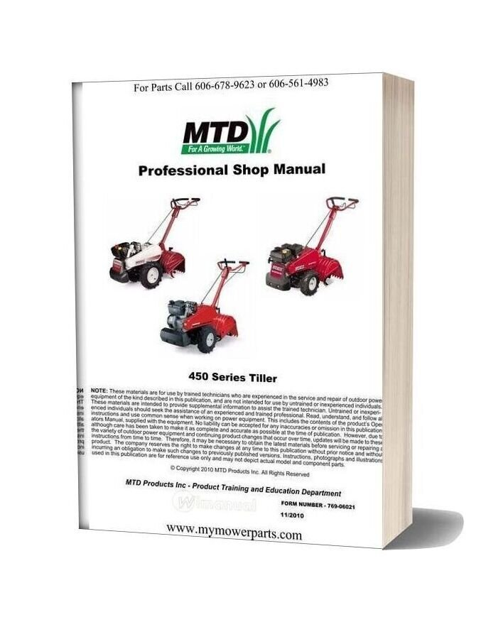 Cub Cadet White Outdoor Yard Machines Rear Tine Tiller Repair Manual 450 Series