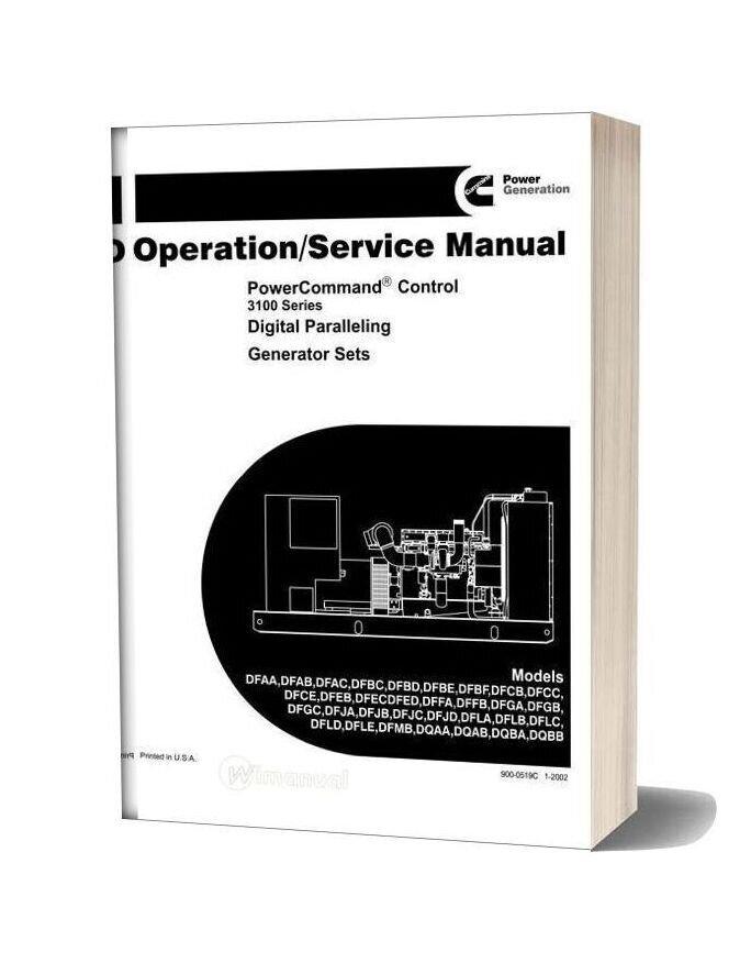 Cummins 3100 Series Generator Operation Service Manual
