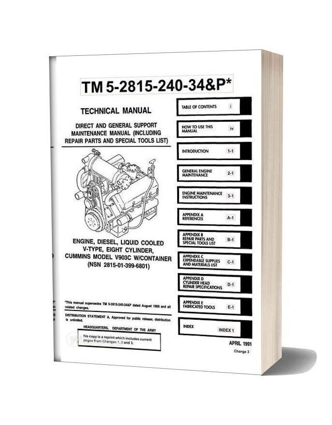 Cummins Engine Diesel Model V903c Service Manual