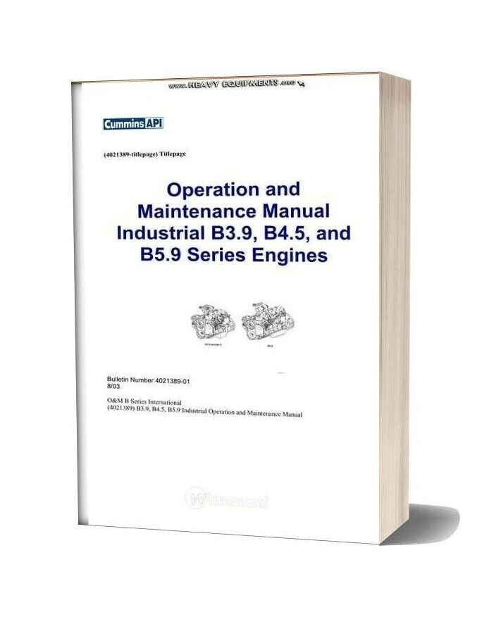 Cummins Industrial B3 9 B4 5 And B5 9 Engines Operation & Maintenance Manual