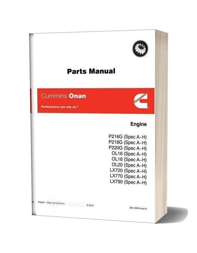 Cummins Onan P216 Parts Manual