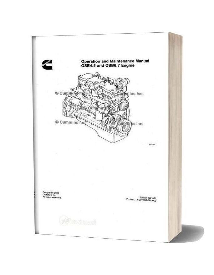Cummins Qsb4 5 6 7 Engine Operation And Maintenance Manual