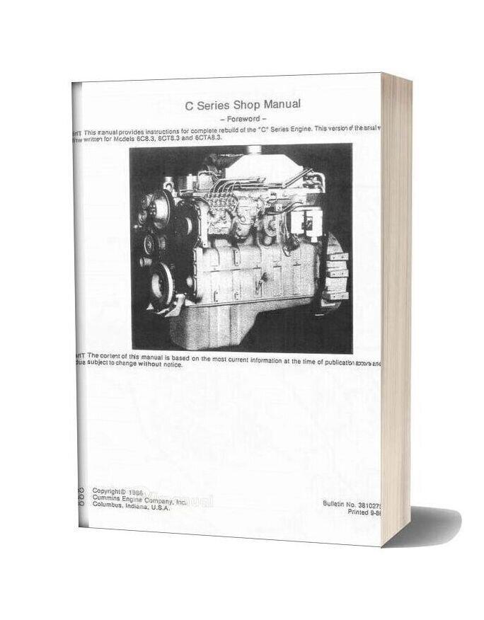 Cummins Shop Manual C Series Engines