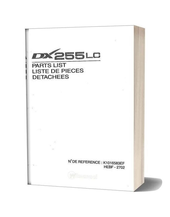 Daewoo Excavator Dx 255lc Parts Manual