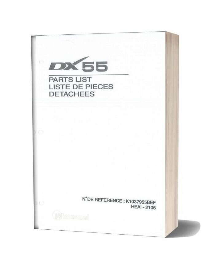 Daewoo Excavator Dx55 Parts Manual
