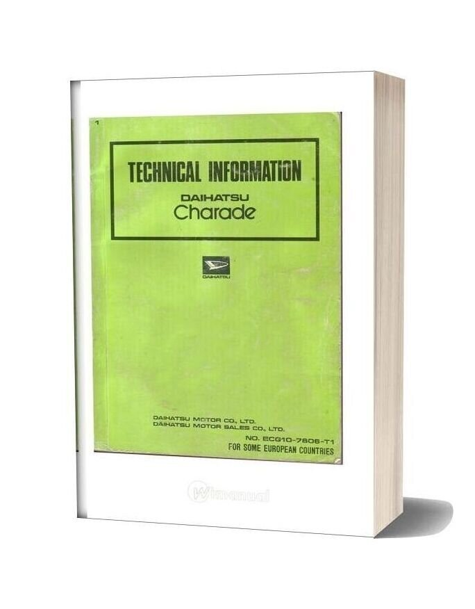 Daihatsu Charade G10 Workshop Manual In English