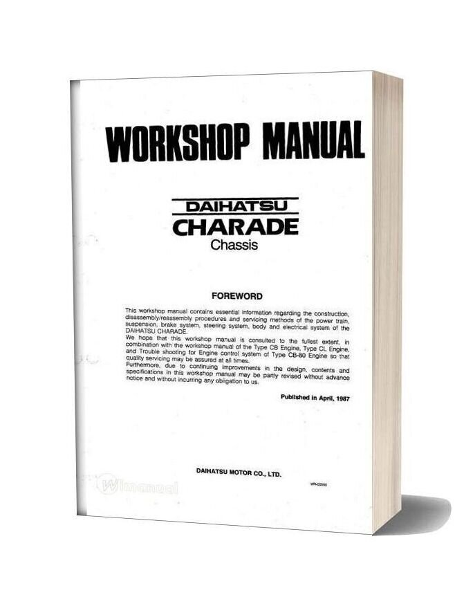 Daihatsu Charade Workshop Manual