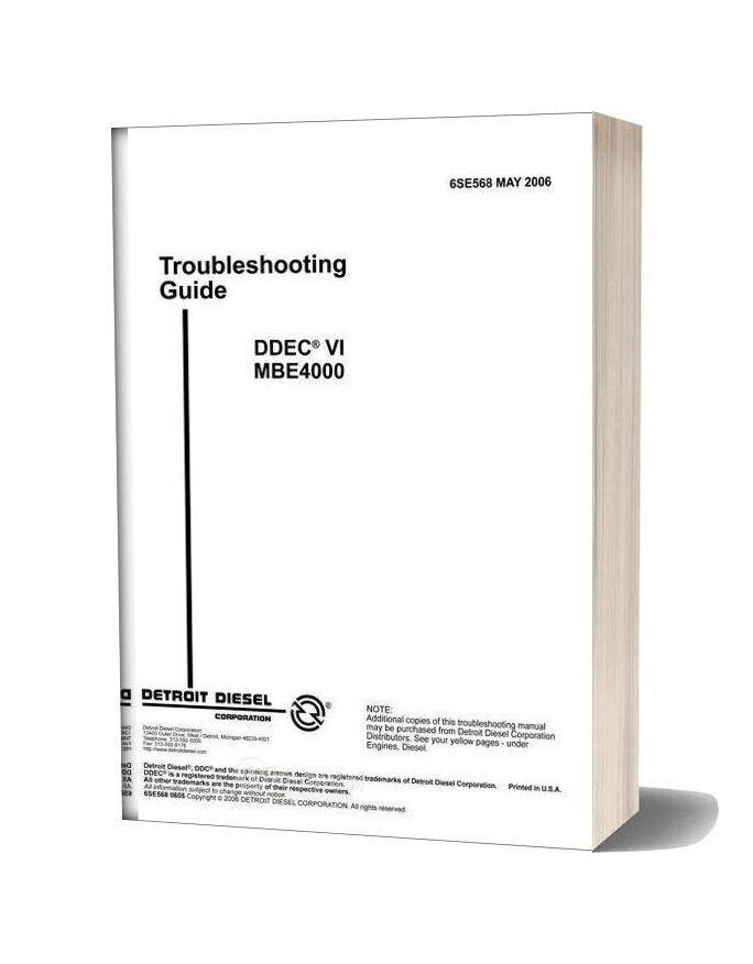 Detroit Diesel Ddec Vi Troubleshooting Guide Mbe4000 6se568